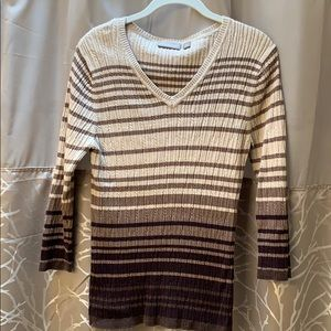 Brown Striped 3/4 Sleeved Sweater